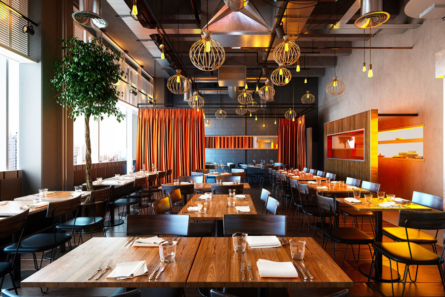 Business Industry Specialties - Modern Bistro with Seating an Warm Colors