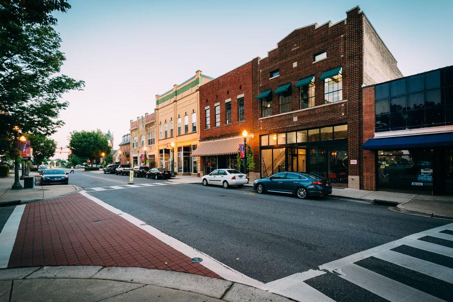 Rock Hill, SC Insurance - Main Street Rock Hill South Carolina at Sunset